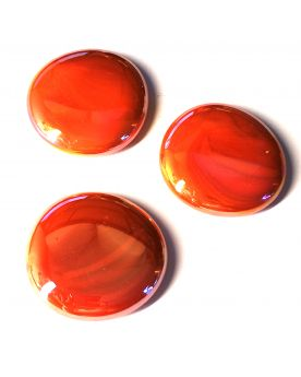 1 Grande Orange Billes Glossy plates en verre 30 mm