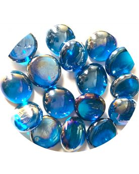 1 Flat Marble Blu Iridescent 18 mm Flat Glass Marbles