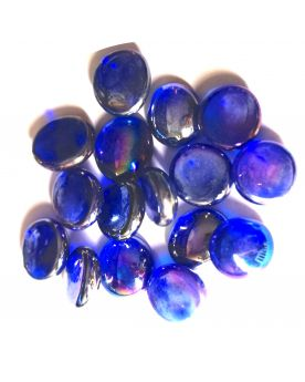 1 Flat Blu Night Iridescent Marble - 18 mm Glass Marble
