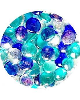 1 Flat Marble mix Triple Blue 18 mm Flat Glass Marbles