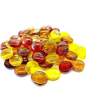1 Flat Marble mix Amber 18 mm Flat Glass Marbles