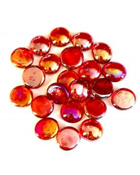 1 Flat Marble Red Iridescent 18 mm Flat Glass Marbles
