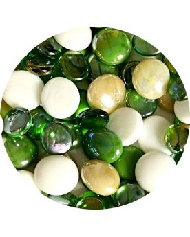 1 Flat Green Mixed Marble - 18 mm Glass Marble
