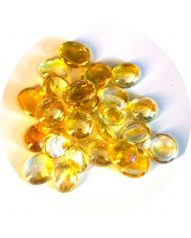 1 Flat Iridescent Yellow Marble - 18 mm Glass Marble