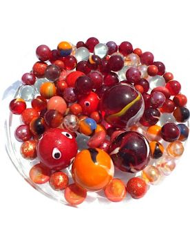 100 Marbles Presentation Box Multi-Rouge GlassMarbles