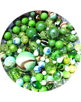 100 Marbles Multi Green - GlassMarbles Bag - MyMarbles