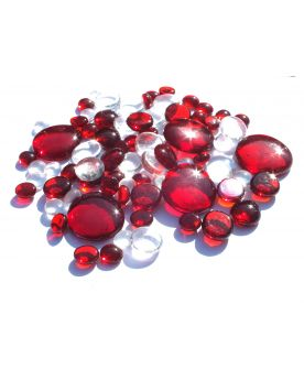 500 gr Mixing Red Transparency Glass Pebble Flats Marbles 30 mm 20 mm 10 mm Decorative Glass Pebbles, St