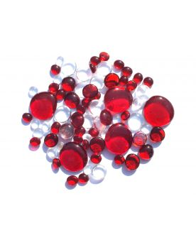 250 gr Mixing Red Transparency Glass Pebble Flats Marbles 30 mm 20 mm 10 mm Decorative Glass Pebbles, St