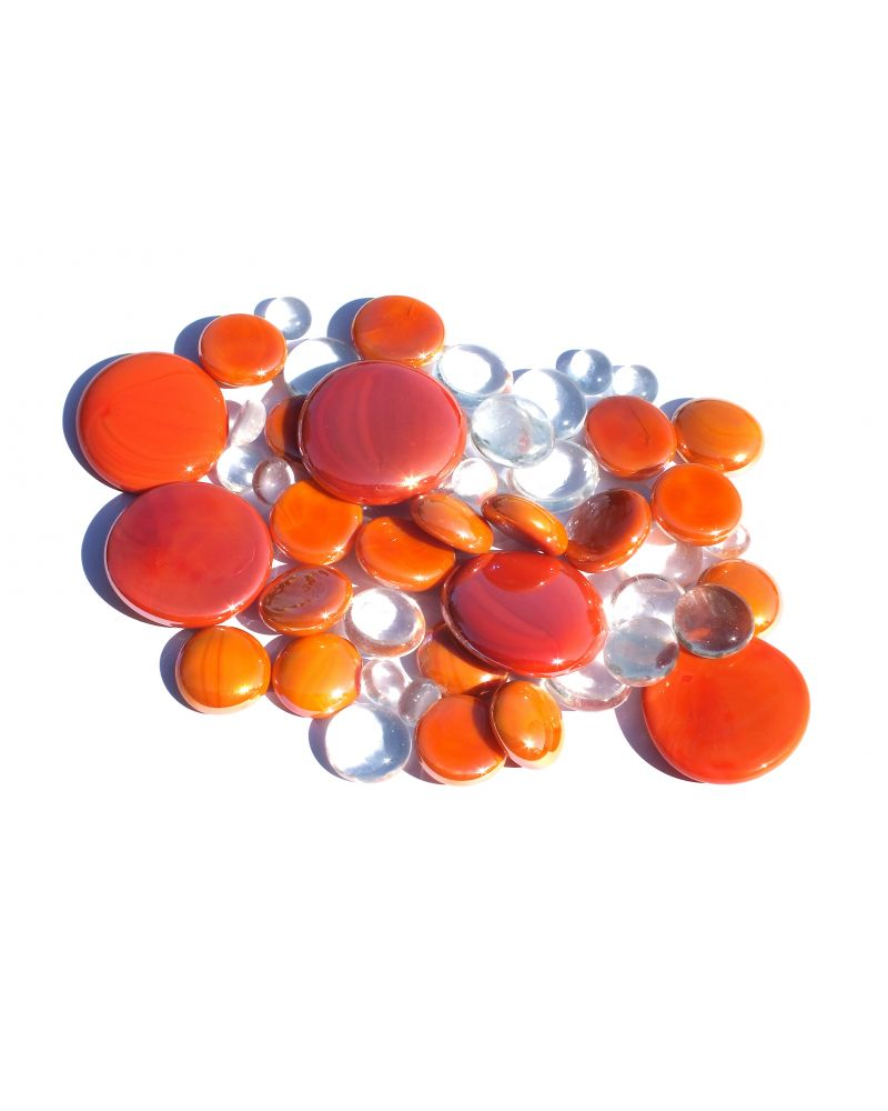 250 gr Mixing Orange Glass Pebble Flats Marbles 30 mm 20 mm 10 mm Decorative Glass Pebbles, St