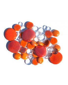 500 gr Mixing Orange Glass Pebble Flats Marbles 30 mm 20 mm 10 mm Decorative Glass Pebbles, St