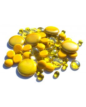 500 gr Mixing Yellow Glass Pebble Flats Marbles 30 mm 20 mm 10 mm Decorative Glass Pebbles, Stones Beads Rounde