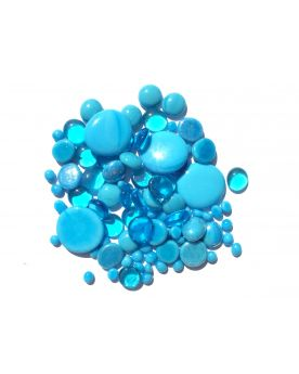 500 gr Mixing Turquoise Blue Glass Pebble Flats Marbles 30 mm 20 mm 10 mm Decorative Glass Pebbles, Stones Bead