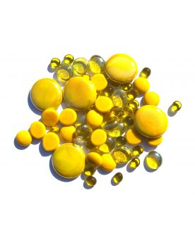 250 gr Mixing Yellow 250 Glass Pebble Flats Marbles 30 mm 20 mm 10 mm Decorative Glass Pebbles, Stones Beads Ro