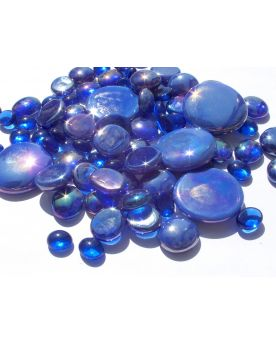 500 gr Mixing Blue-Night Glass Pebble Flats Marbles 30 mm 20 mm 10 mm Decorative Glass Pebbles, Stones Beads Ro