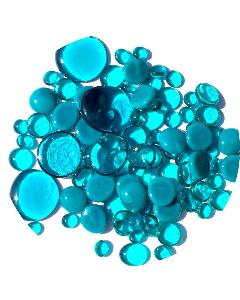250 gr Mixing Blue-Duck Glass Pebble Flats Marbles 30 mm 20 mm 10 mm Decorative Glass Pebbles, Stones Beads Rou