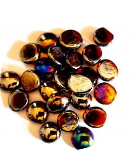 1 Flat Amber iridescent  Marble - 18 mm Glass Marble