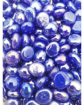 1 Small Flat Blue Glossy Glass Marble 12 mm