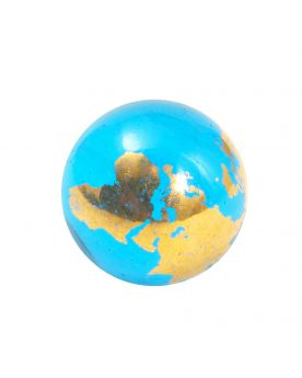 1 Art Marble Blue and Gold 22 carats MappeMonde Glass Marble 20 mm