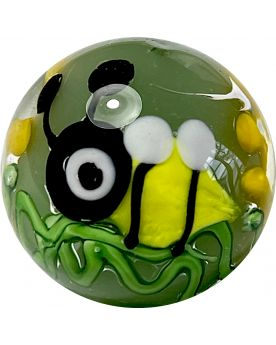 1 Bee Art Glass Marble 20 mm