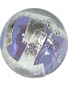 1 Pale Purple Silver Cage Art Glass Marble 16 mm