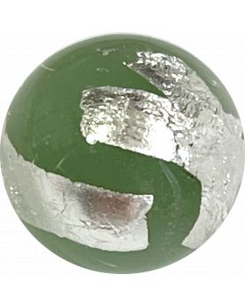 1 Light Green Silver Cage Art Glass Marble 16 mm
