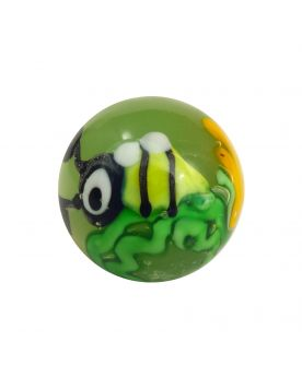 1 Bee Art Glass Marble 16 mm