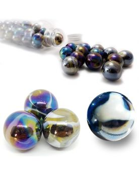 MyGlassMarbles - 10 Marbles Petroleum - 9 GlassMarbles and 1 Shooter marble