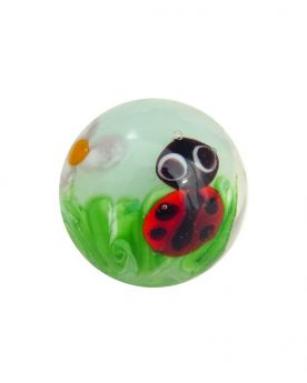 1 Green Lady Bug Art Glass Marble 16 mm