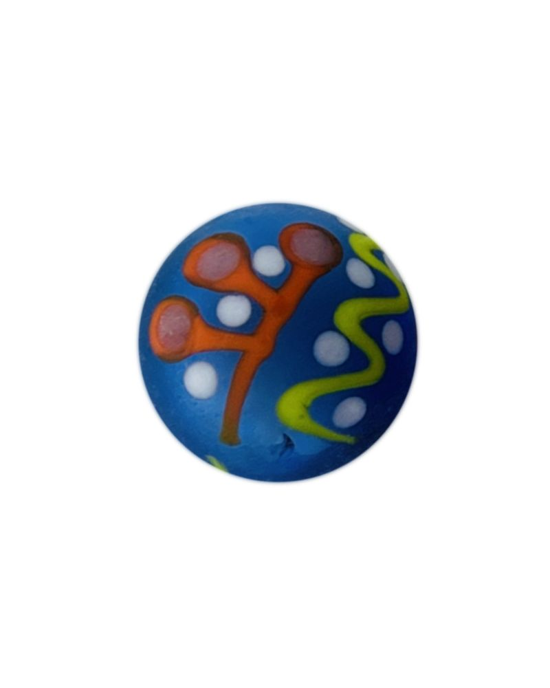1 Frosted Blue Piñata Art Glass Marble 16 mm