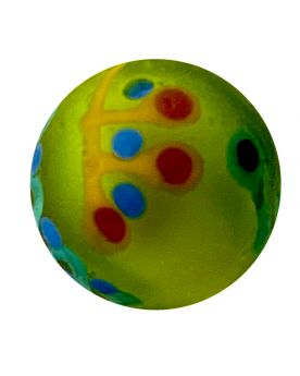 1 Green Frosted Piñata Art Glass Marble 16 mm