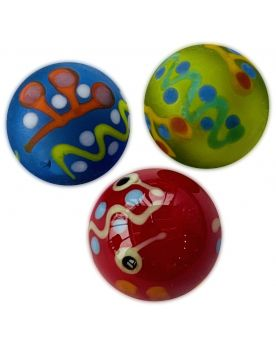 1 Red Piñata Art Glass Marble 16 mm