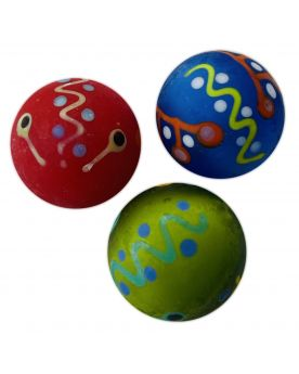 1 Medium Red Frosted Piñata Art Glass Marble 22 mm
