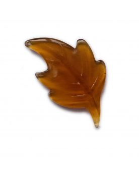 1 Flat Amber Leaf Glass Marble 36 mm