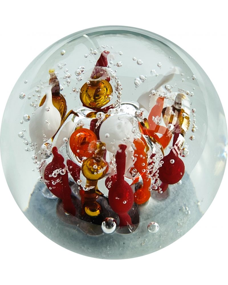 1 Orange Glass Magic Forest Paperweight 80 mm