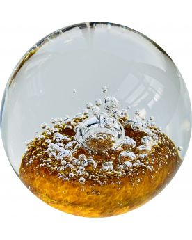1 Orange Glass Sparkling Paperweight 75 mm