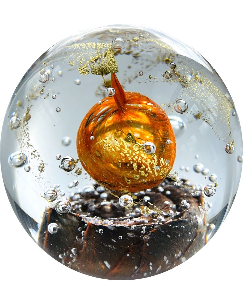 1 Orange Glass Astral Paperweight 80 mm Glass Marbles Art Collector