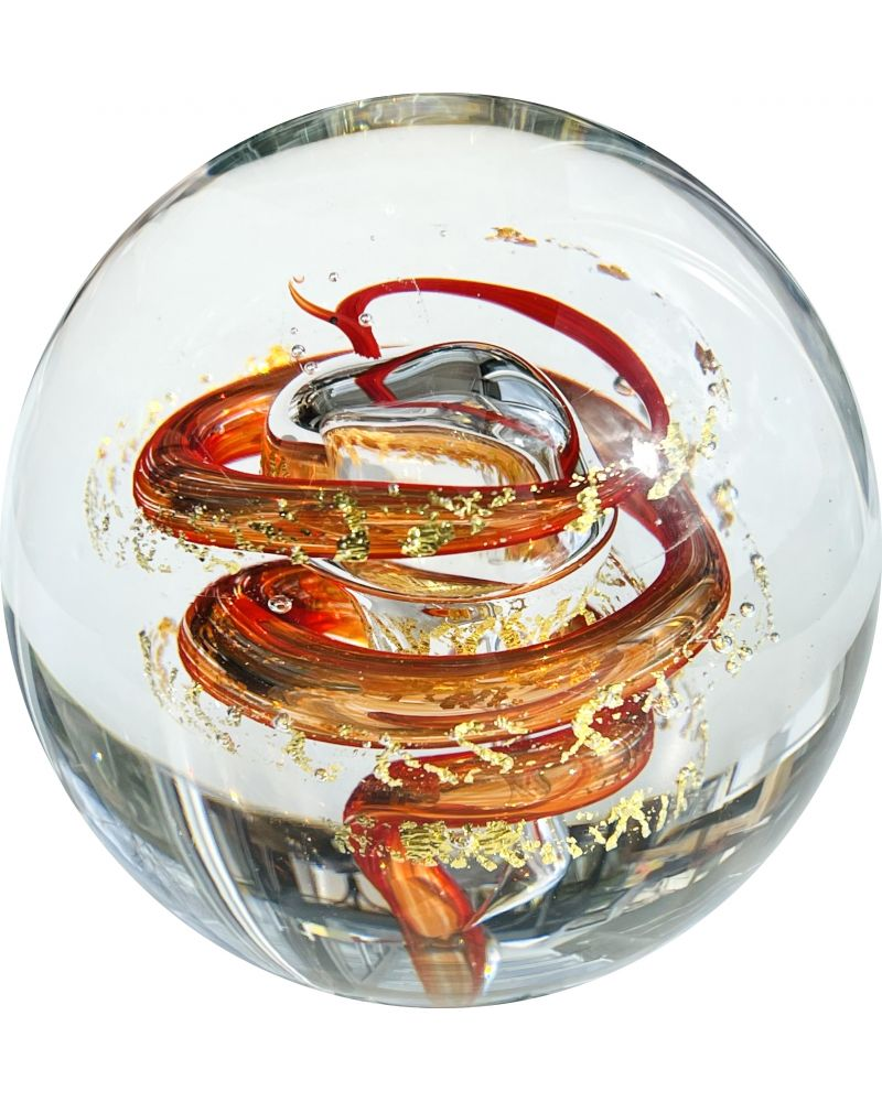 1 Red Marble Art Collection Twister Paperweight 80 mm Glass Marbles Art Collector