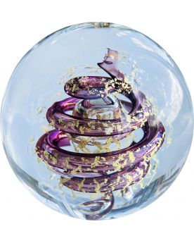 1 Purple Glass Twister Paperweight 80 mm
