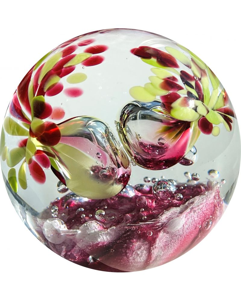 1 Pink Glass Festive Paperweight 75 mm Glass Marbles Art Collector