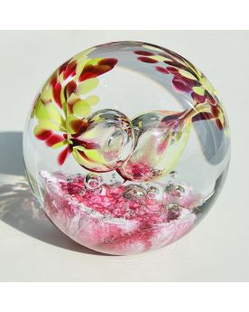 1 Pink Glass Festive Paperweight 75 mm