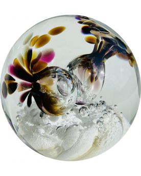 1 Brown Glass Festive Paperweight 80 mm Glass Marbles Art Collector