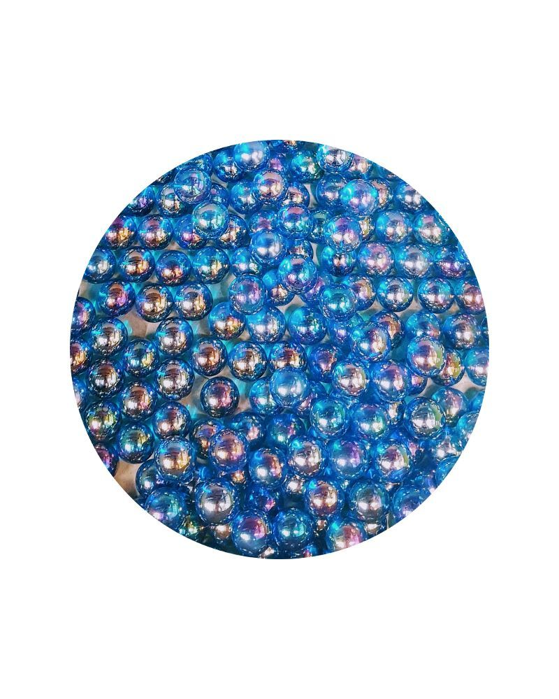1 Small Iridescent Blue Glass Marble 14 mm