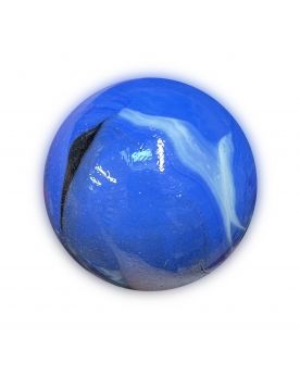 1 Very Large Blue Porcelain Glass Marble 35 mm