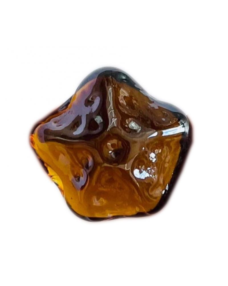1 Amber Star of the Sea Shaped Glass Marble 28 mm
