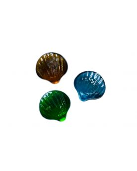 1 Amber Shaped Shell Glass Marble 30 mm