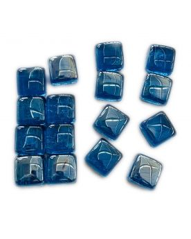 1 Square Shaped Blue Glass Marble 25 mm