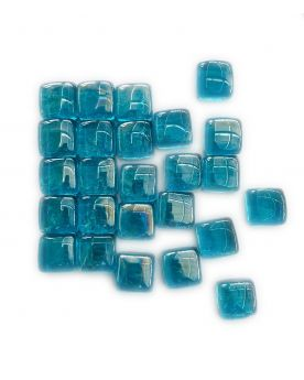 1 Square Shaped Light Blue Glass Marble 25 mm
