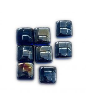 1 Square Shaped Dark Blue Glass Marble 25 mm