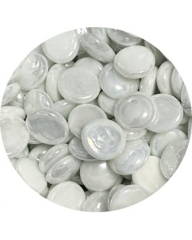1 Flat Glossy White Glass Marble 18 mm