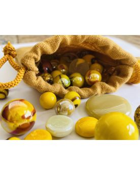 1 Yellow Linen Bag and 60 Marbles